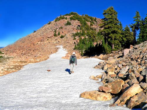 Crossing a snowfield  below Bumpass Mtn.