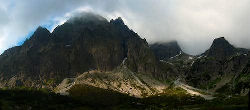 Zelene Pleso in cloudy morning