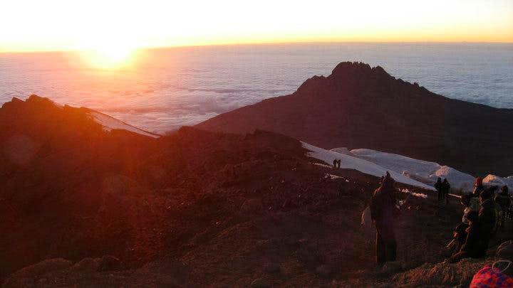 Dawn on the crater edge of Kilimanjaro