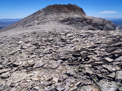 Curving ridge toward summit