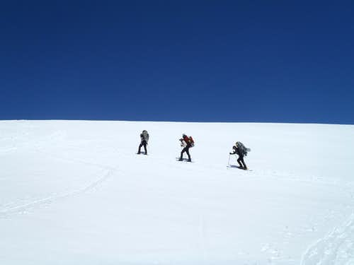Heading up the Muir Snowfield