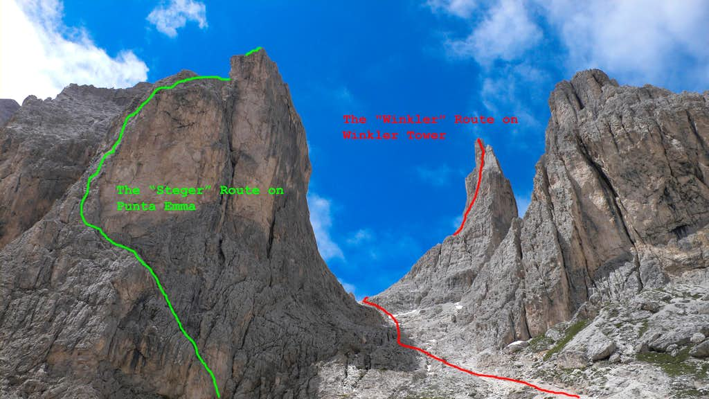 A look at the spires from the Vajolet Hut