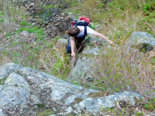 Descending The Crux of the Gully