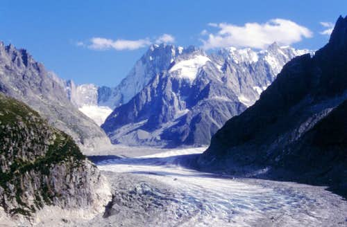 Mer de Glace and Grandes Jorasses in the background