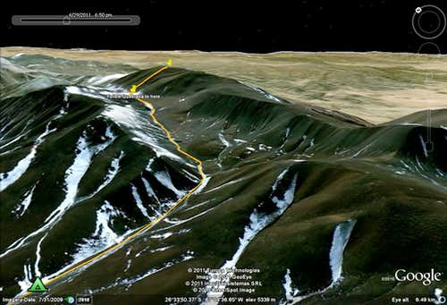 The Route from base camp to the summit of Laguna Blanca
