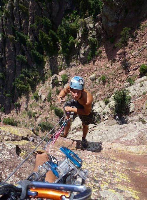 Vertigo (5.11b) Eldorado Canyon, CO