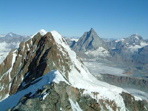 East Breithorn summit and Matterhorn in the background