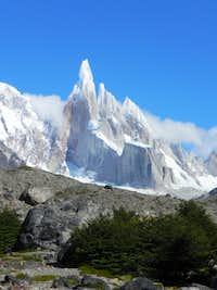 Cerro Torre on a blue bird morning