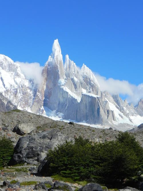 Cerro Torre on a blue bird morning