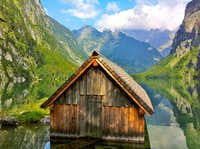 The little boat-house on Lake Obersee in the Berchtesgaden National Park
