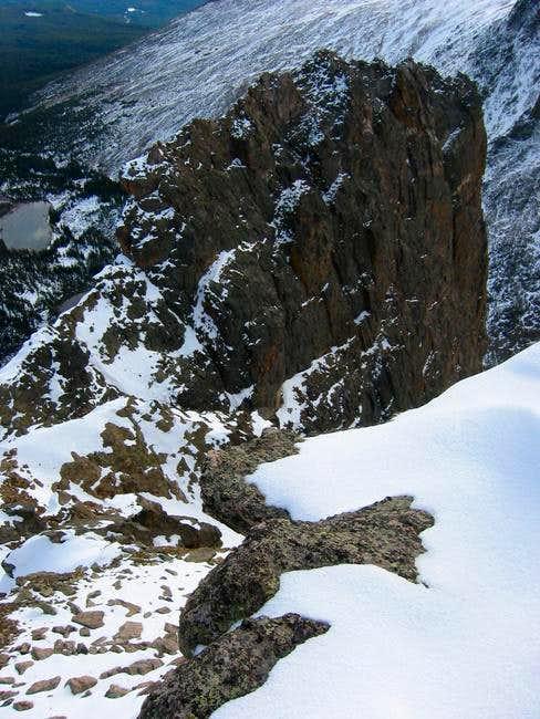 Looking down at the ridge...