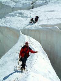 Roseg Glacier - Huge bridge on the route to Piz Glüschaint