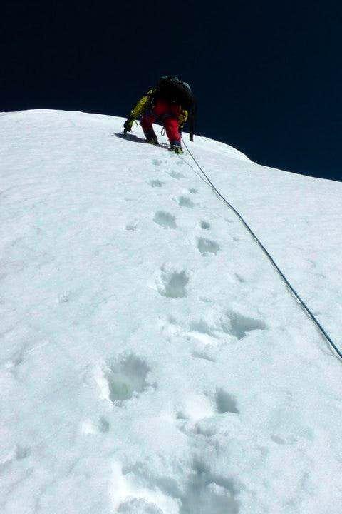 Climbers below summit