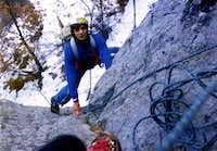 Dihedral in free climbing with rope in Seventies