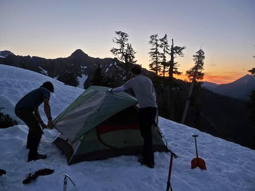 Setting Up Camp During Sunset