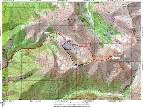 A topographic map of routes...