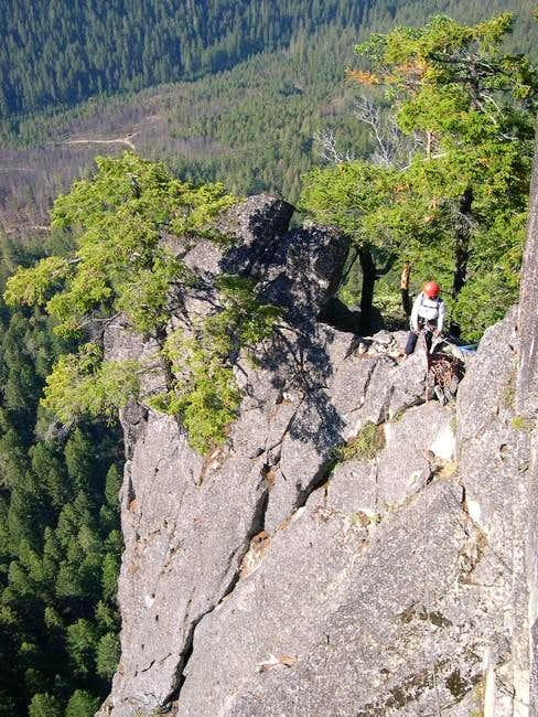 Shirley belaying me from atop...