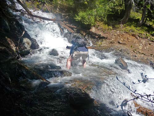 Michael Crossing the Creek