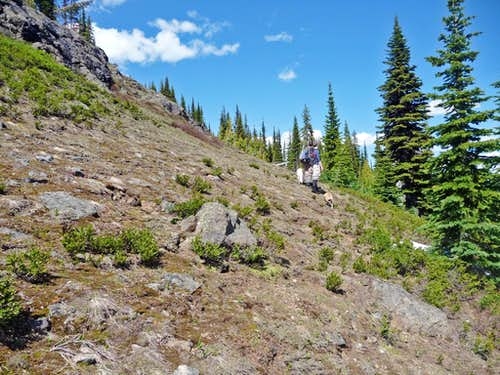 Traversing the side of Crater Mountain