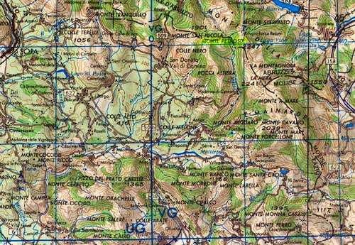 The map of the area around M....