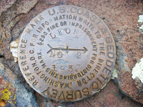 Leon Peak reference mark No.2