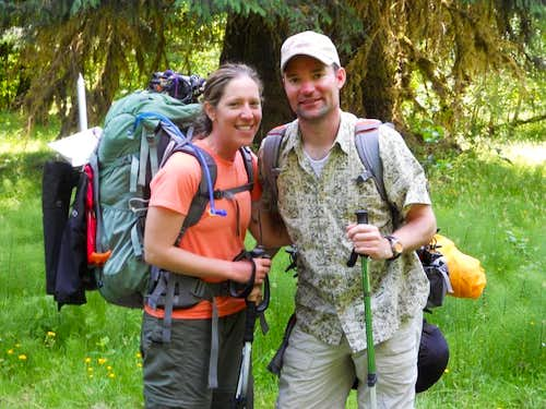 Tired couple - Hoh River Trail, Mt. Olympus