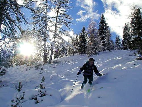 Even skiing through light...