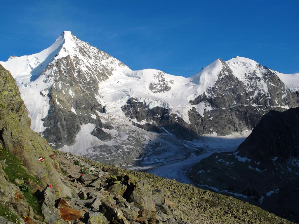 Obergabelhorn (4063m) and Mont Durand (3713m) above Glacier Durand