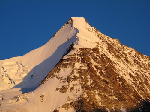 Obergabelhorn with it's ice wall in the evening glow