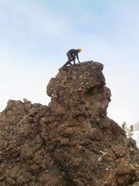 ryan climbing up that pillow basalt