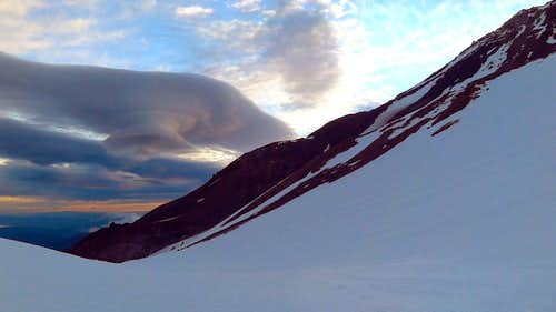 Spaceship shape lenticular cloud above Whitney Glacier, Mt Shasta