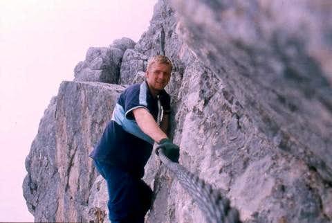 Climbing the upper steep...