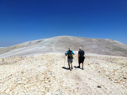 Chuck and Jerry heading back towards Patterson after bagging Wheeler Peak.