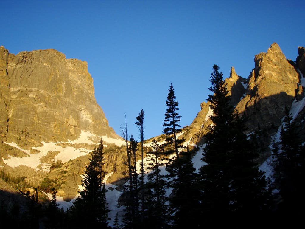 Hallett Peak on the left