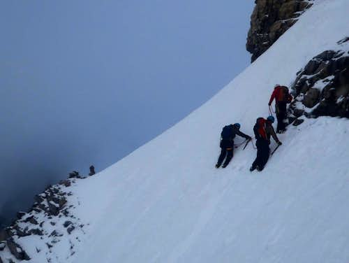 Crossing ledges to gain upper South Glacier