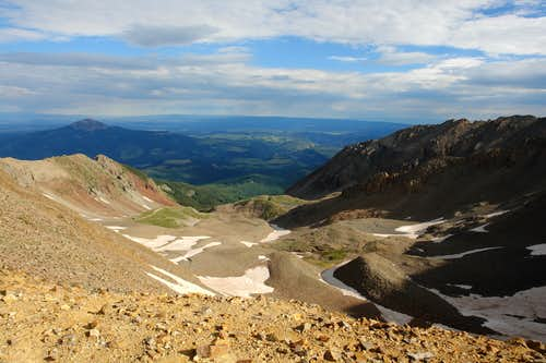 Looking down into Silver Pick Basin