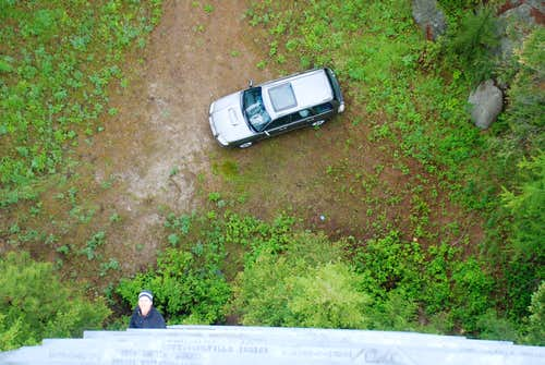 It\'s a long way down to the car
