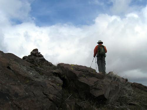Dennis at the summit of Cone BM