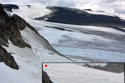Crossing Styggebreen glacier
