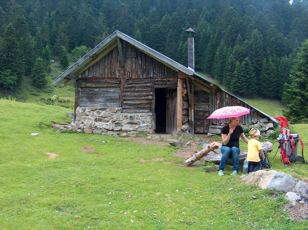 wooden hut near mountain - photo #11