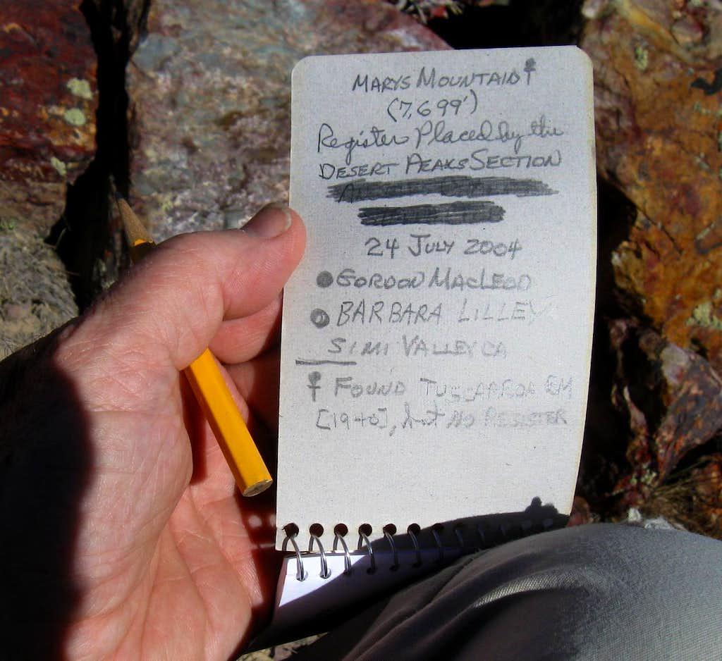 Marys Mountain Register