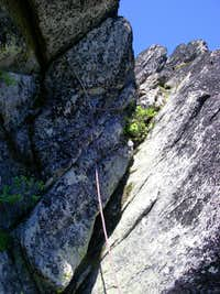 Route on the summit block from the belay