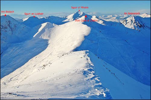 Mamore range - central summits in winter
