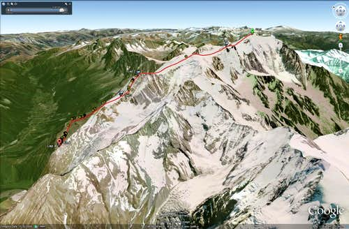 GPS coordinates for the Normal Route (Mont Blanc)