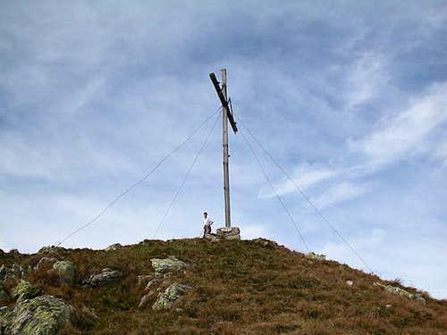 Just below the summit cross...