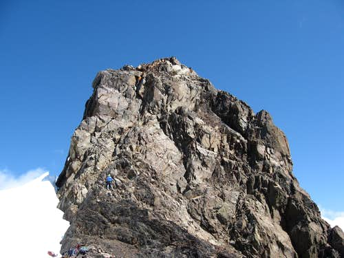 Caleb climbing the Eagle\'s Nest on the West Peak of Olympus
