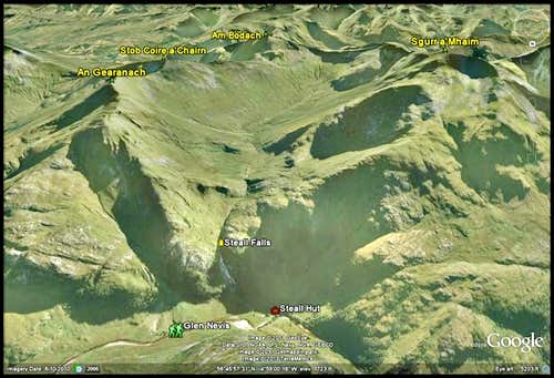 Mamore range - Google Earth image of Ring of Steall