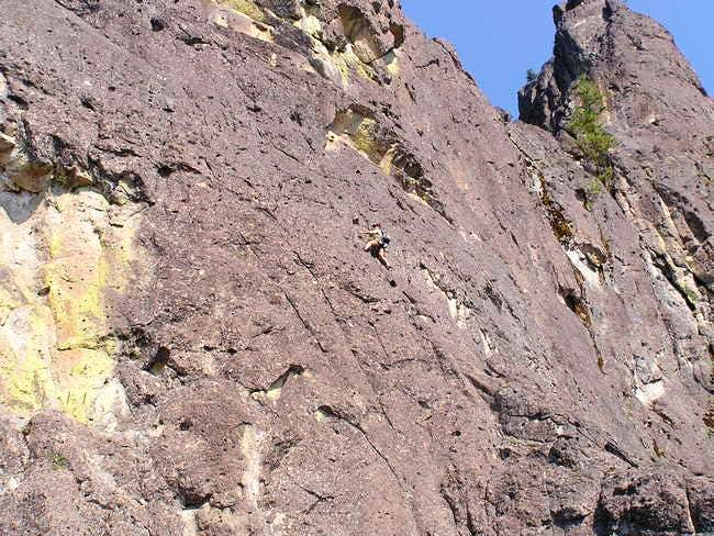 Climber doing the traverse on...