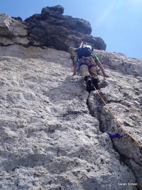 Ascending pink granite crack