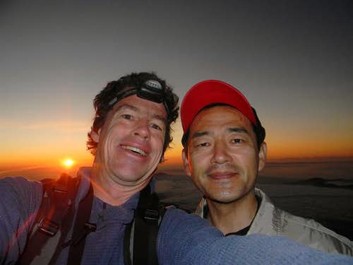 Ryoji and Myself at Sunrise on Fujisan Crater Rim